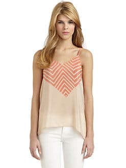 French Connection - Ziggy Silk Zigzag Contrast Top