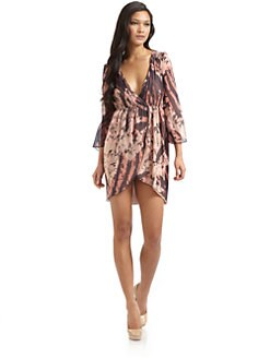 Alice + Olivia - Conry Silk Bell-Sleeve Dress