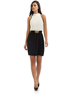 Alice + Olivia - Elastic Belt High-Neck Dress