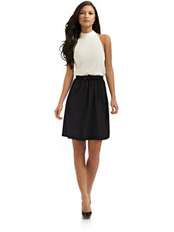 Alice + Olivia - Lace Belt High-Neck Dress