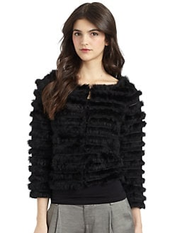 Alice + Olivia - Honor Rabbit Fur Wool Jacket