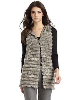 Alice + Olivia - Honor Rabbit Fur Hooded Vest