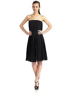 Halston Heritage - Strapless Pleated Dress