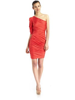 Halston Heritage - One Shoulder Ruched Dress