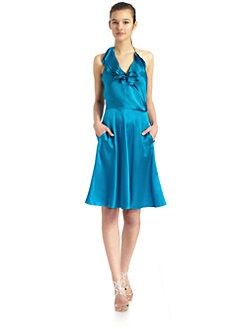 Halston Heritage - Textured Silk Ruffle Dress