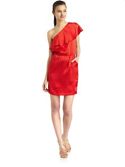 Halston Heritage - One Shoulder Textured Silk Dress