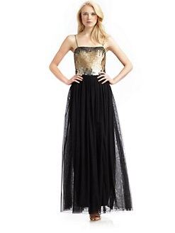 Aidan Mattox - Sequined-Bodice Gown