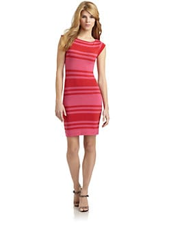 French Connection - Jag Striped Cap Sleeve Dress