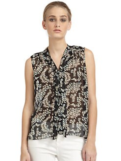 Elizabeth and James - Jamie Ikat Tie-Neck Silk Blouse