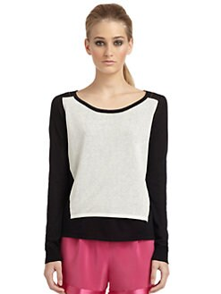 Elizabeth and James - Colorblock Layered Cotton/Silk Knit Top