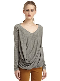 Elizabeth and James - Liza Long-Sleeve Draped Tee