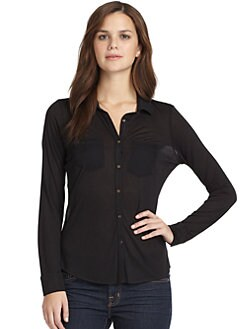 Sjobeck - Sheer Back Button Down Shirt/Black