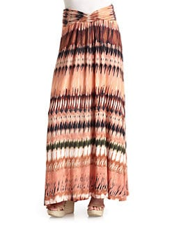 Torn - Print Jersey Maxi Skirt/Orange