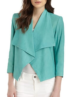 Alice + Olivia - Colton Drape-Front Leather Jacket