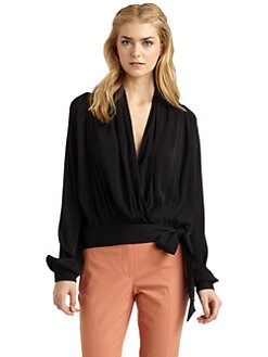 Rachel Zoe - Annelise Wrap Stretch Silk Blouse