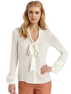 Rachel Zoe - Nathalie Tie-Front Stretch Silk Blouse