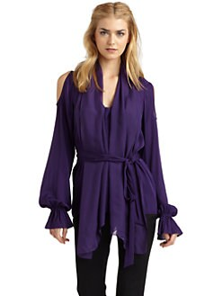 Rachel Zoe - Gia Cold Shoulder Stretch Silk Blouse