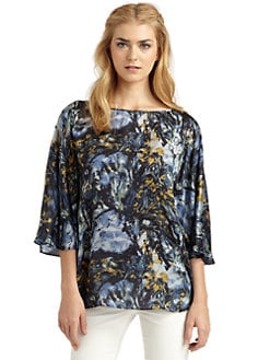 Rachel Zoe - Garret Oil Paint-Print Silk Blouse