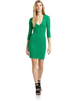 Catherine Malandrino - Pointelle Knit V-Neck Dress