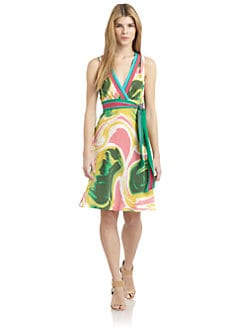Catherine Malandrino - Satin Abstract Tie-Waist Dress