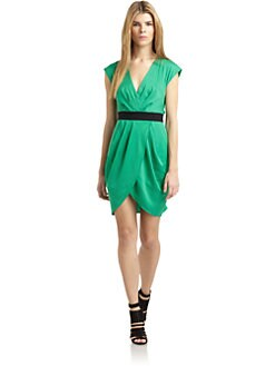 Catherine Malandrino - Satin Mock Wrap Dress