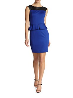 Cynthia Steffe - Dylan Faux Leather Contrast Peplum Dress