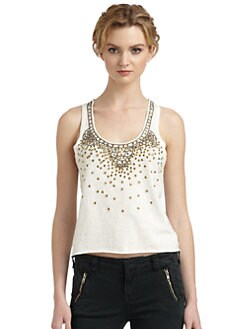 Free People - Stardust Cotton Embellished Racerback Top