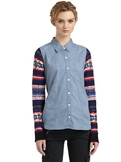 Free People - Chambray Sweater Sleeve Button-Down Shirt