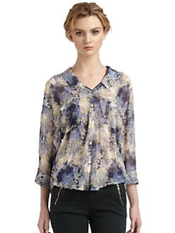 Free People - Easy Rider Chiffon Abstract Blouse
