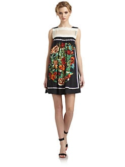 Free People - Fiesta Embroidered Yoke Floral Dress