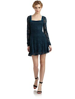 Free People - Flirt For You Velvet Trim Lace Dress