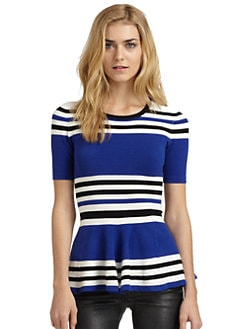 Torn - Mercedes Striped Peplum Top