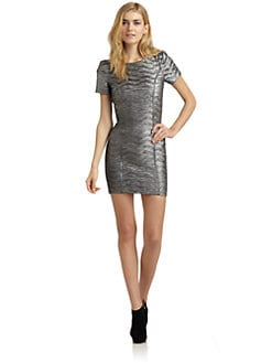 Torn - Bella Metallic Short-Sleeve Dress