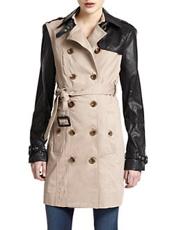 W118 by Walter Baker - Theo Mixed-Media Trench Coat