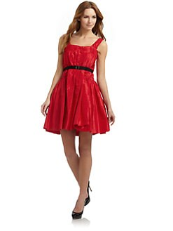Ali Ro - Belted Taffeta Cocktail Dress