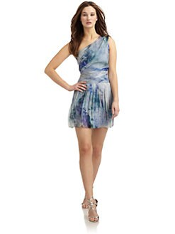 ABS - Brushstroke Print One-Shoulder Bubble Dress