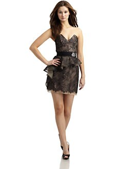 ABS - Strapless Lace Peplum Dress