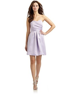 ABS - Short Strapless Chiffon Bow Dress/Lilac