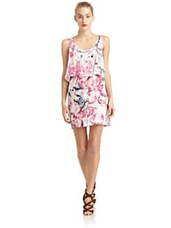 Rebecca Minkoff - Jerry Silk Satin Floral Tiered Dress