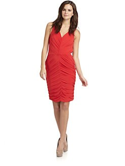 Halston Heritage - Ruched Cocktail Dress