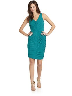 Halston Heritage - Ruched V-Neck Cocktail Dress