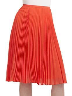 Halston Heritage - Knee-Length Pleated Skirt/Red