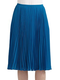 Halston Heritage - Knee-Length Pleated Skirt/Blue