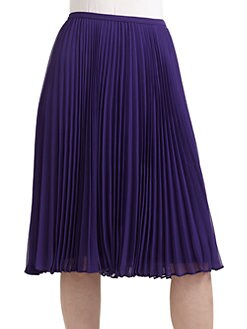Halston Heritage - Knee-Length Pleated Skirt/Purple