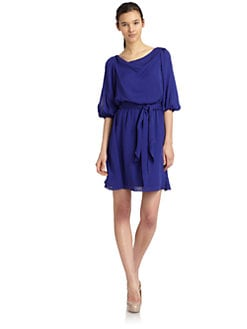 Halston Heritage - Gathered Waist Silk Dress/Blue
