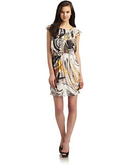 Ali Ro - Textured Printed Ruffle Dress