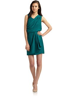 Ali Ro - Draped Silk Dress/Evergreen
