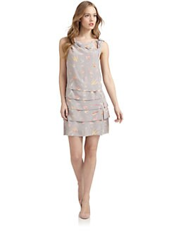 Jill Stuart - Malene Bird-Print Tiered Silk Dress