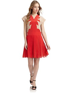 Jill Stuart - Milana Silk Drop-Waist Applique Dress