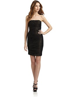 Badgley Mischka - Ruched Strapless Foil Dress